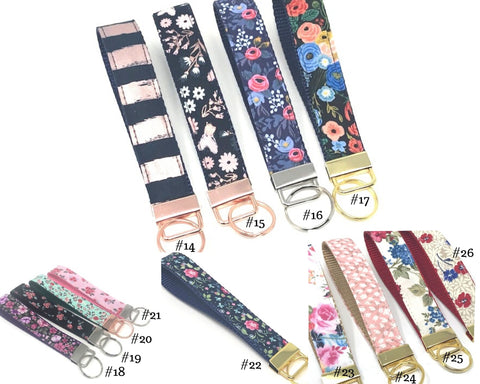 Key Chain, Key Fob, Wristlet, Women, Girls, Trendy,  #14 Navy Blue & Rose Gold Stripe, #15 Navy Blue & Rose Gold Floral, #16 Pink & Blue Floral, #17 Peach, Pink, Blue Floral, #18 Purple Floral, #19 Pink & Black Floral, #20 Pink & Teal Floral, #21 Pink & Red Floral #22 Pink, Blue, Green Floral, #23 Pink, Blue, White Floral, #24 Pink, White, Gold Floral, #25 Red, Blue, Green Floral, #26 Red, Blue, Tan Floral, key lanyard
