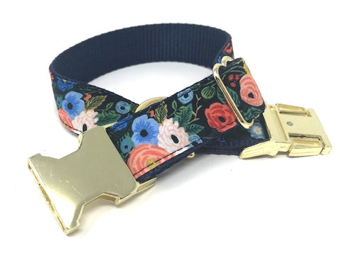 floral dog collar, pink, red, blue, peach, green, girls, female, personalized, engraved, custom, cat, pet collar, small, medium, large, xl