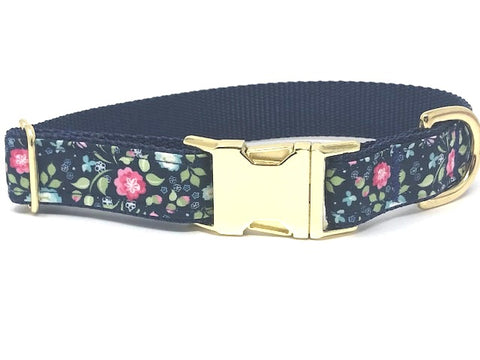 Floral Dog Collar For Girls, Pink, Blue, Gold, Female, Pretty, Trendy, Female Dog Collar, Personalized, Engraved, Cat, Pet