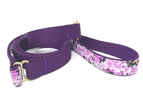 floral dog leash, purple dog leash, girls, female, gold