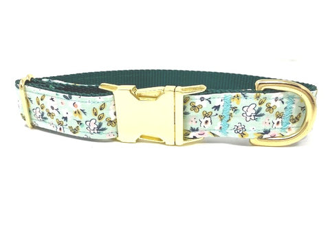 Green And Gold Floral Dog Collar For Girls, Gold Metal Buckle, Pink, Yellow, Green, Teal, Mint, Flowers, For Girls, Female, Personalized