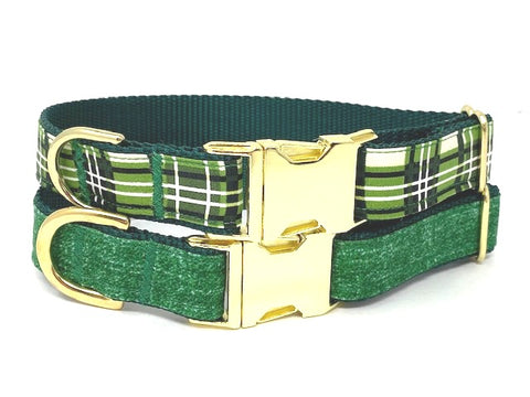 Green Dog Collar, For Boys, Plaid, Linen, Gold, Male Dog Collar, Personalized, Engraved, Small, Medium, Large, XL