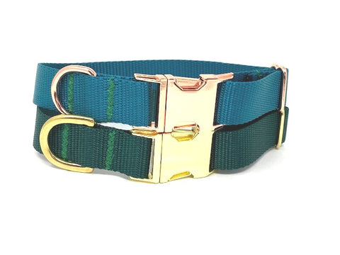 Green Dog Collar, Girls, Boys, Teal, Forest, Dark Green, Gold, Rose Gold, Nylon, Personalized, Engraved