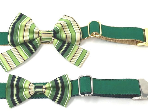 Dog Bow Tie, Bowtie, Girly Bow, Dog Collar Bow, Green, Yellow, Gold, Girls, Boys, Collar NOT INCLUDED