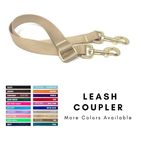 leash coupler, lead coupler, 2 leads in one, 2 leashes in one, gold, brown, black, blue, pink, purple, gold, red, white, orange, 16""