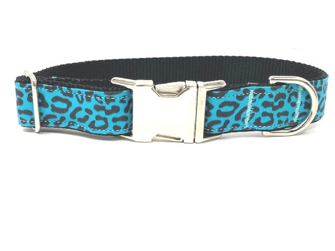 Leopard Print Dog Collar For Girls Or Boys, Blue, Black Animal Print, Silver Metal Buckle, Small, Medium, Large, XL, Personalized, Engraved