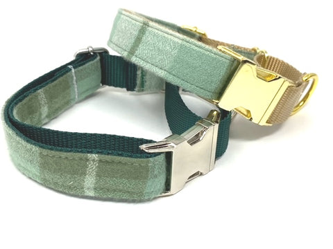 Martingale Dog Collar W Buckle, Plaid, Green, Gold, Fall, Autumn, For Girls, Boys, Personalize, Engrave, Flannel, Greyhound, Custom