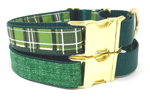 Martingale Dog Collar With Buckle, Green Dog Collar, For Boys, Plaid, Linen, Gold, Male Dog Collar, Personalized, Engraved, Greyhound, Choke