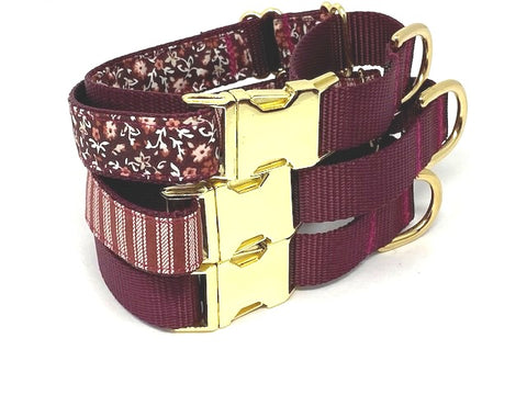 Martingale Dog Collar With Gold Metal Buckle, Burgundy, Maroon, Cream, Tan, Girls, Boys, Personalized, Engraved, Fall, Autumn, Thanksgiving