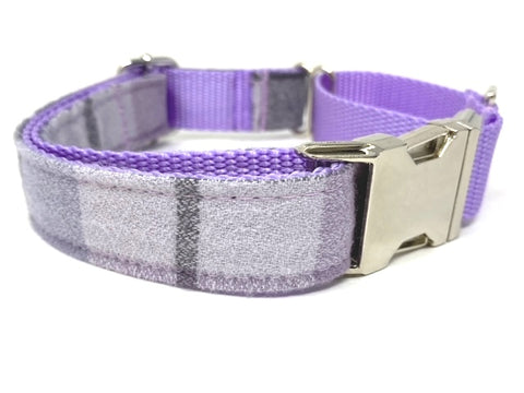 Martingale Dog Collar W/ Buckle, Plaid, Purple, Lavender, Fall, Autumn, For Girls, Boys, Personalize, Engrave, Flannel, Greyhound, Custom