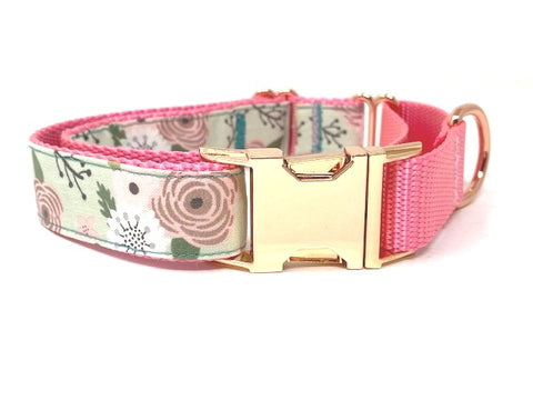 Martingale Dog Collar, With Buckle, For Girls, Rose Gold, Pink, Mint Green, Floral, Pretty, Personalized, Engraved, Greyhound, Choker