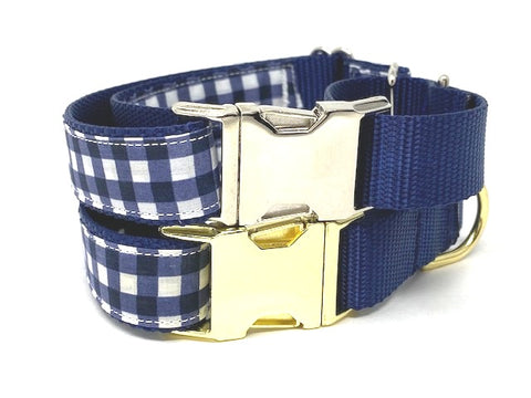 Martingale Dog Collar, With Buckle, Gold, Silver, Blue, Gingham, Plaid, For Boys, Male, Personalized, Engraved, Greyhound, Whippet, Choker