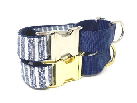 Martingale Dog Collar, With Buckle, Gold, Silver, Blue, Stripe, Preppy, For Boys, Male, Personalized, Engraved, Greyhound, Whippet, Choker
