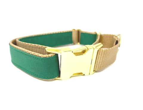 Martingale Dog Collar, With Buckle, Green, Gold,For Boys, Girls, Personalized, Engraved, Custom, Puppy Collar, Choker, Greyhound, Whippet