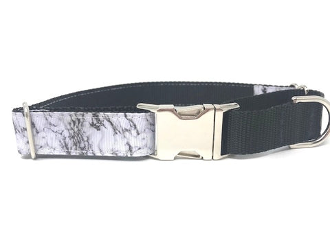 martingale dog collar, with buckle, marble print, black and white, boys, male, personalized, engraved, small, medium, large, xl, training collar, choker collar, fashion, stylish, trendy