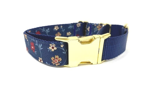 Martingale Dog Collar, With Gold Metal Buckle, For Girls, Blue, Tran, Maroon, Burgundy, Floral, Personalized, Engraved Pet Collar, Choker