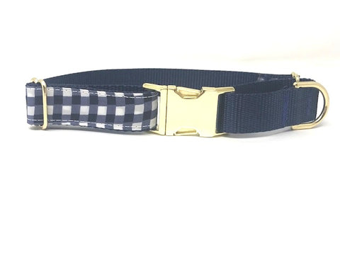 martingale dog collar, with gold metal buckle, plaid, navy blue and white, boys, male, personalized, training, fashion, trendy