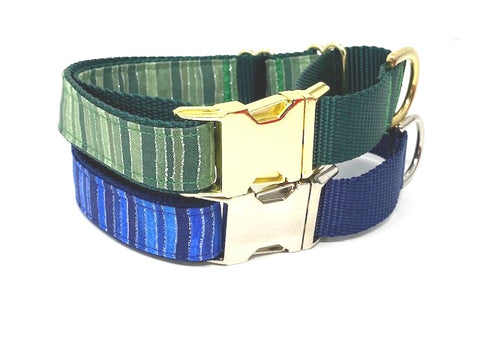Martingale Dog Collar, With Metal Buckle, For Boys, Green Stripe, Blue Stripe, Sparkle Glitter Choker Collar, Personalized, Greyhound