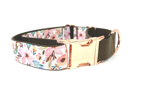 Martingale Dog Collar, With Rose Gold Buckle, For Girls, Floral Dog Collar, Choker, Pink, Blue, Brown, Personalized, Engraved, Greyhound