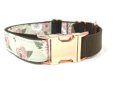 Martingale Dog Collar, With Rose Gold Buckle, For Girls, Personalized, Pink, Mint Green, Brown, Female, Engraved, Floral Pet Collar