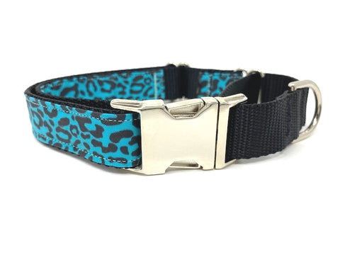 Martingale Dog Collar, With Silver Metal Buckle, Boys, Girls Blue, Leopard Print, Animal Print, Personalized, Engraved Pet Collar, Choker