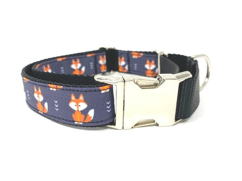Martingale, Dog Collar, With Metal Buckle, For Girls, Boys, Woodland, Fox, Black, Orange, Animal Print, Personalized, Engraved, Customized