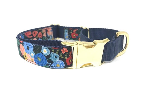 martingale dog collar, with buckle, Pink, yellow, gold and blue floral, girls, small dogs, medium dogs, large dogs, big dogs, personalized