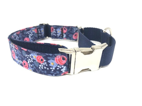 martingale dog collar, with buckle, floral, pink, blue, small, medium, large, extra large, girls, female, personalized, engraved
