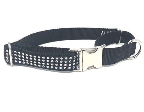 fancy black and white rhinestone martingale dog collar with buckle for girls or boys, personalized, engraved, sparkly, bling, fancy, small, medium, large, xl, big dogs