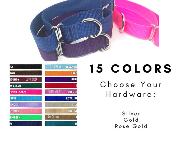 Martingale Dog Collar, Girls, Boys, Nylon, Multi - Colors, Black, Brown, Dark Green, Hot Pink, Ice Blue, (Baby Blue), Lavender, Light Pink, Lime Green, Navy Blue, Orange, Purple, Red, Royal Blue, Soft Gold, Teal, White, Girls, Boys, Small, Medium, Large, XL