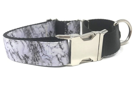 Black, White, Marble Print, Martingale Dog Collar With Buckle, Personalized, small, medium, large, extra large, engraved