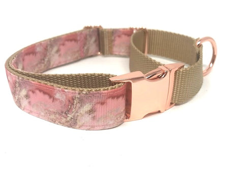 martingale dog collar, with buckle, pink, gold, rose gold, marble, girls, female, personalized, engraved, puppy, trendy, fashion, unique