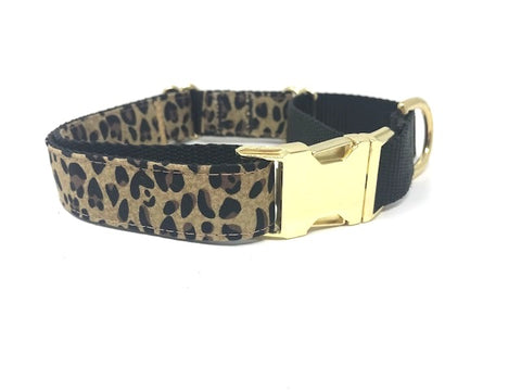 leopard print martingale dog collar with buckle for girls or boys, gold, black, personalized, engraved, small, medium, large, xl