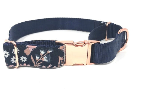martingale dog collar, with buckle, for girls, floral, pink, blue, rose gold, personalized, engraved, puppy, girls, female, trendy
