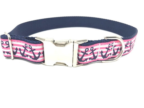nautical dog collar, stripe, pink, blue, white, anchors, girls, female, personalized, engraved, pet collar, medium, large, extra large