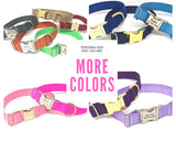 design your own dog collar, pet collar, cat collar, gold, rose gold, silver, purple, red, blue, pink, personalized, engraved, girls, boys