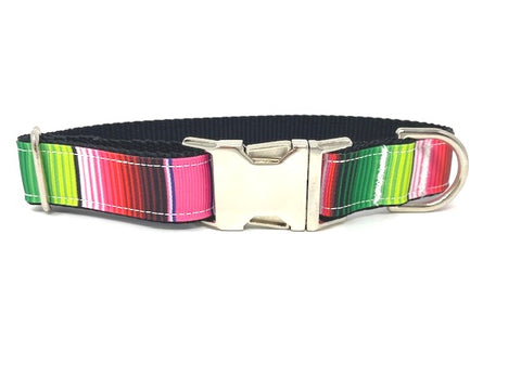 Pink Dog Collar, Green, Blue, Purple, For Girls, Serepe, Stripe, Personalized, Engraved, Pretty, Red, Small, Medium, Large, XL, Mexican