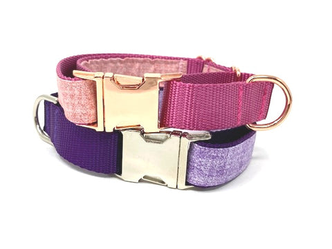 Martingale Dog Collar With Buckle, Pink, Purple, Lavender, Lilac, Rose, Gold, Girls, Boys, Personalized, Engraved, Greyhound, Choker