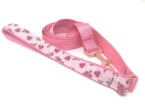 Pink Dog Leash, Floral Dog Leash, Decorative Handle Dog Lead, For Girls, 5 Foot, Rose Gold Hardware