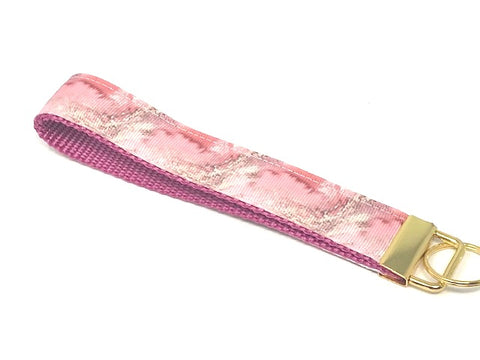 Pink And Gold Marble Print Key Fob, Lanyard, Wristlet For Girls