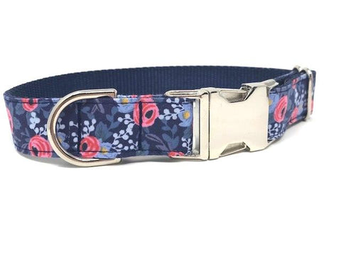 floral, dog collar, girls, female, pink, blue, engraved, personalized, custom, trendy, fashion, fabric