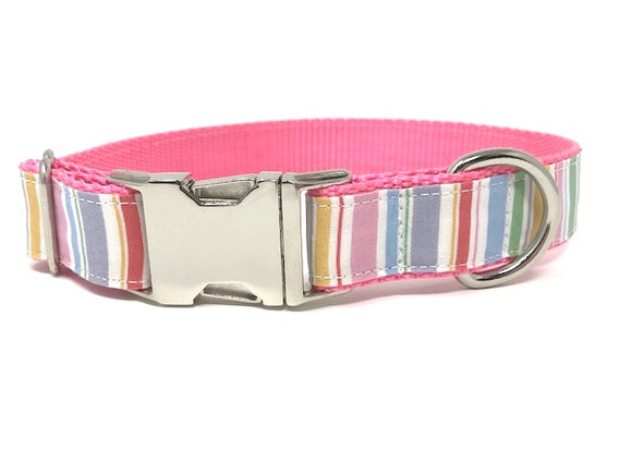 pink, lavender, green, yellow, gold, and green stripe, girls, female, easter, summer, personalized, engraved, small, medium, large, xl, cat, pet