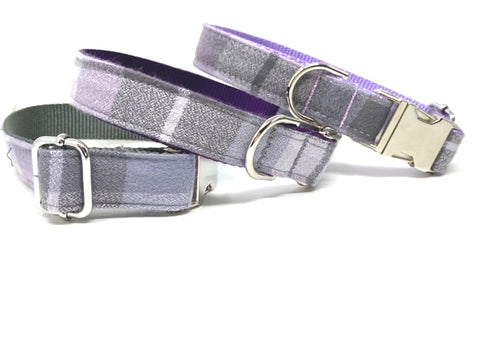 Plaid Dog Collar, Purple, Lavender, Lilac, Fall, Autumn, For Girls, For Boys, Personalized, Engraved, Flannel, Customized