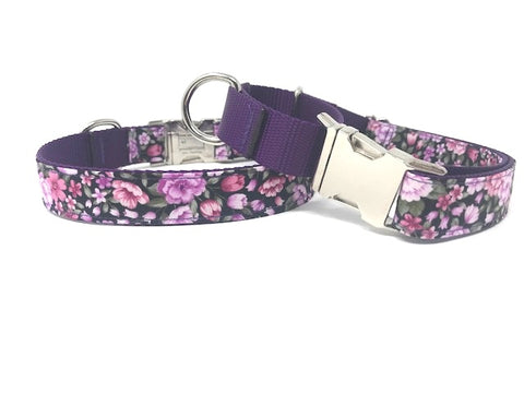 Purple, Floral, Martingale Dog Collar With Buckle For Girls, Personalized Collar