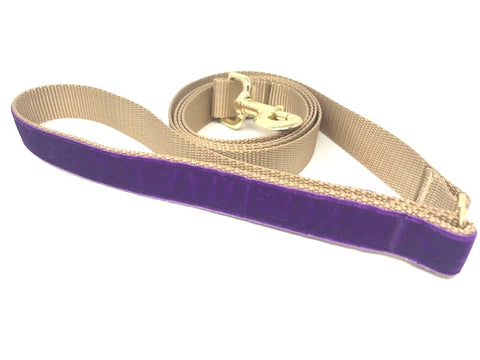 Purple, Gold, Velvet, Decorative Handle, Dog Leash For Girls, Hot Pink Lead, 5 Foot