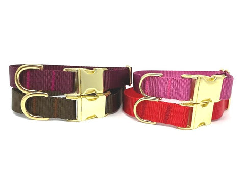 Red Dog Collar, Brown, Burgundy, Raspberry, Rose, Gold, Girls, Boys, Nylon, Personalized, Engraved, Dog Collar Girls, Boys