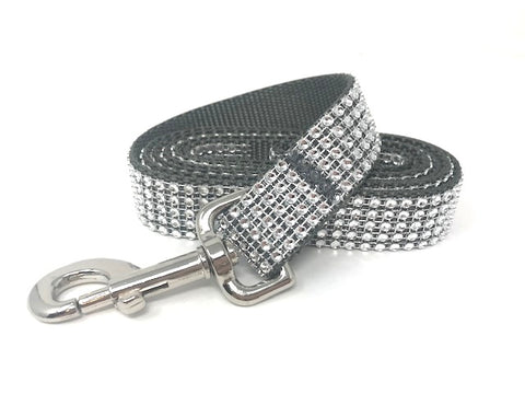 silver, grey, rhinestone, bling, sparkle, fancy, dog leash for girls, boys
