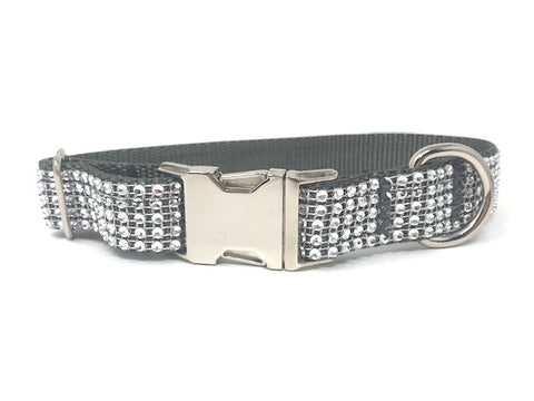 silver, grey, rhinestone, bling, sparkle, fancy, dog collar for girls, boys, personalized, engraved
