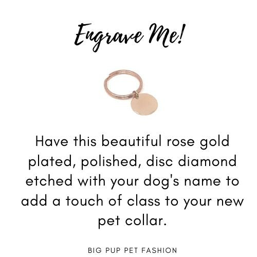 Rose Gold Dog Collar Tag, Personalized Dog ID Tag, Engraved Dog Identification Tag, Diamond Etched, Pretty, Polished, Disc