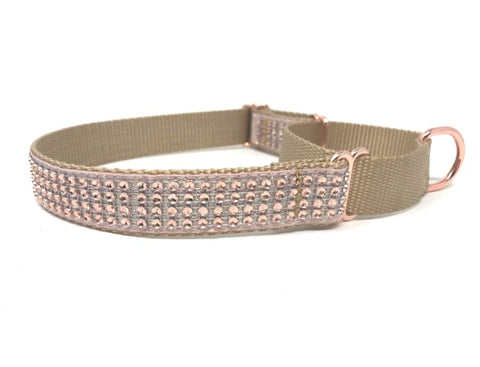 rose gold, rhinestone, fancy, sparkly, martingale dog collar for girls, personalized, engraved, small, medium, large, xl, female, fashion, trendy